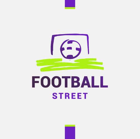 collegiate: Template street football, soccer. Ball on White background