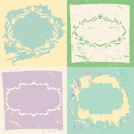 pastel backgrounds: Set backgrounds and frames in pastel colors. Hand-drawn elements.