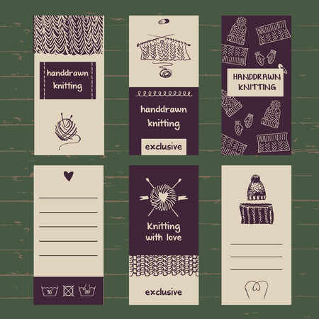 knitwear: Set of labels for knitwear and wool. Hand drawn vector. Knit and Crochet.
