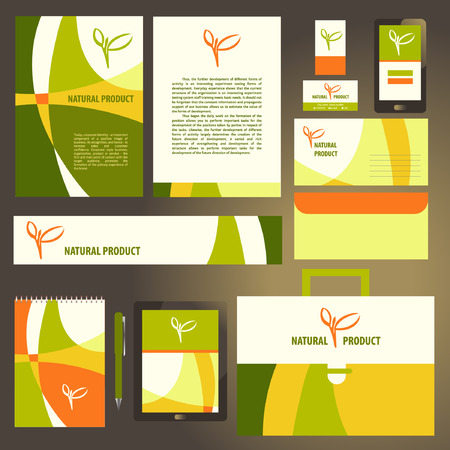 corporative: Corporate identity template set. Natural  product, vegan food.  Business stationery