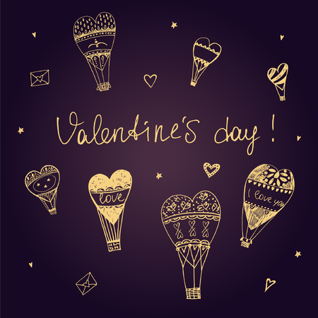 love expression: Valentine Day. I love you. Vector typography. Balloons in the sky.