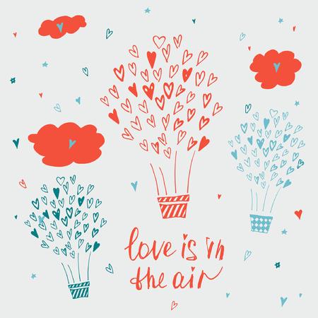 carta de amor: Dibujado a mano cartel de la tipograf�a. El amor est� en el aire. El dise�o elegante del cartel tipogr�fico sobre el amor. Ilustraci�n inspirada. Se utiliza para las tarjetas de felicitaci�n, carteles, tarjeta del d�a de San Valent�n o la tarjeta de fecha.