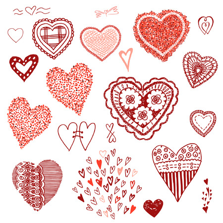 Doodle set of hearts.Heart of confetti, knitted hearts. Design elements for weeding invitations, Valentine Day cards.