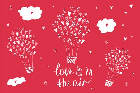 love letter: Dibujado a mano cartel de la tipografía. El amor está en el aire. El diseño elegante del cartel tipográfico sobre el amor. Ilustración inspirada. Se utiliza para las tarjetas de felicitación, carteles, tarjeta del día de San Valentín o la tarjeta de fecha.