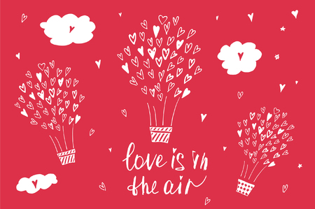 cute love: Hand drawn typography poster. Love is in the air. Stylish typographic poster design about love. Inspirational illustration. Used for greeting cards, posters, valentines day card or save the date card.