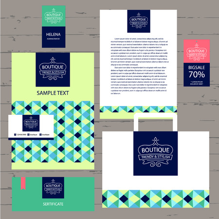 stationery items: Vector template logo and corporate identity for the boutique. A set of stationery items with geometric mosaic pattern of triangles. Illustration