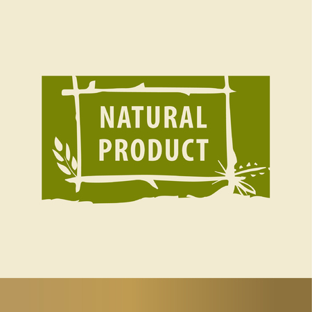 Natural product sketch logo. The growth of plants, seedlings Illustration