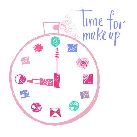 Time to make up hand drawn poster with lettering. Design elements for advertising of cosmetics. Morning makeup and personal care.