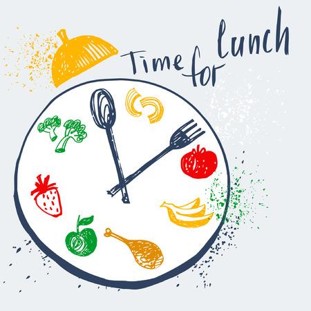 cuchara: Hora de almorzar. Elemento de diseño para la publicidad de café, restaurante, menu.Food en un plato con un tenedor y una cuchara. Fitness, Dieta y calorías. Vectores