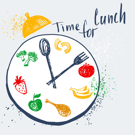 Time for lunch. Design element for advertising cafe, restaurant, menu.Food on a plate with a fork and spoon. Fitness, Diet and Calorie.