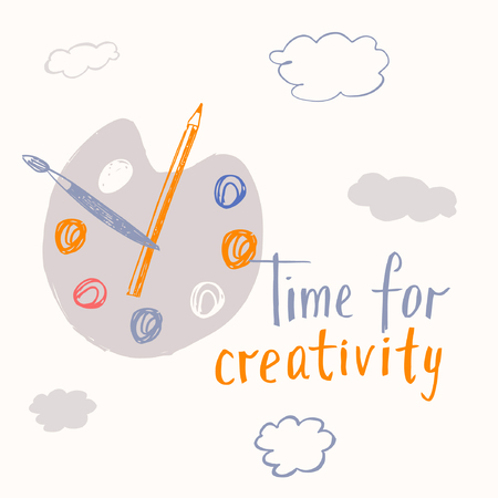 creative arts: Time for creative lettering. Motivational poster on the theme of creativity and the arts. Inspiring illustration, sketch for creative studios and schools. Illustration