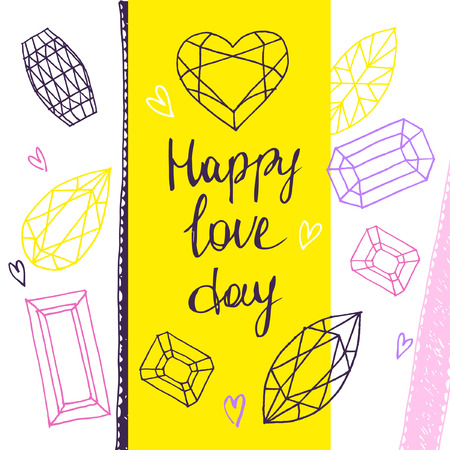 karat: Happy love day.Vector geometric hand drawn illustration of faceted stones. Outline graphic.