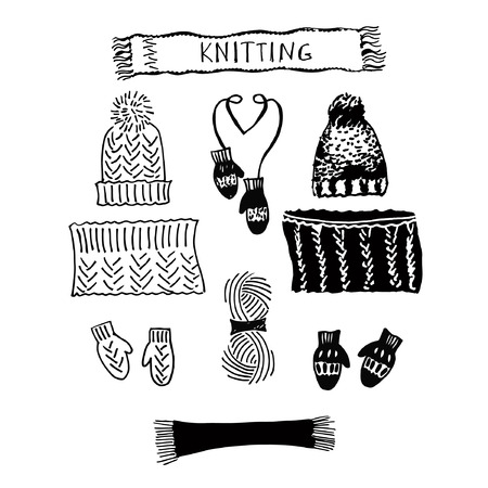 A set of knitting hats and snood, scarf and mittens. Sketch of hand knitted hat with pompom for the winter. Silhouette headdress.