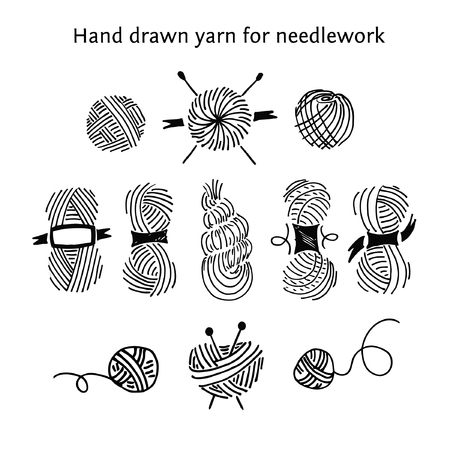 Set skeins of different forms. Outline style.Hand-drawn collection of yarns for needlework and knitting.