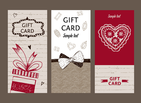 Set of gift cards, hand-drawn. Templates gift certificate to shop. Coupon code with the texture of wood, ribbon and bow for the holidays and Valentine Day. Illustration