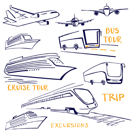 bus tour: A set of vehicles for travel. Air, water and land transportation. Hand-drawn bus, train, ship and plane. Bus tour. Cruise tour.