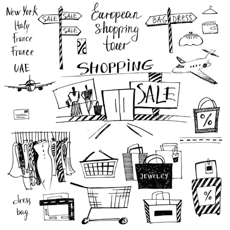 set of hand-drawn for shopping and travel. Discounts, shopping tours to Europe.