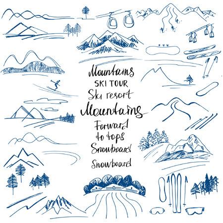 Berglandschap. Handgetekende schetsen van de bergen. Skipistes en een snowboard. Design elementen voor een wintersport holiday.Mountain klimmen. Klimmer. Vector Illustratie