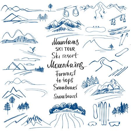 rocky road: Mountain landscape. Hand-drawn sketches of the mountains. Ski slopes and a snowboard. Design elements for a winter sports holiday.Mountain climbing. Climber. Illustration