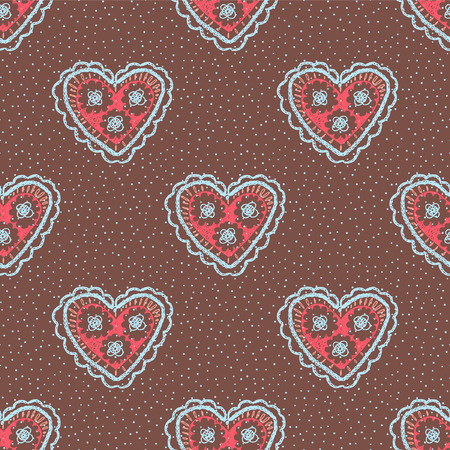 Seamless pattern with hearts. Openwork heart, drawn by hand. Crochet Heart. Illustration