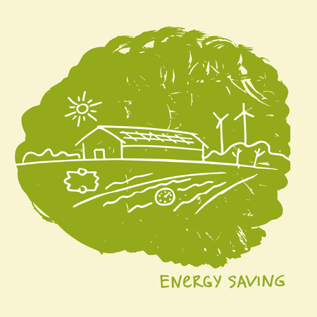 heat pump: illustration energy-efficient construction.Energy saving. Eco-friendly house. Natural resources and energy icons. Smart home.