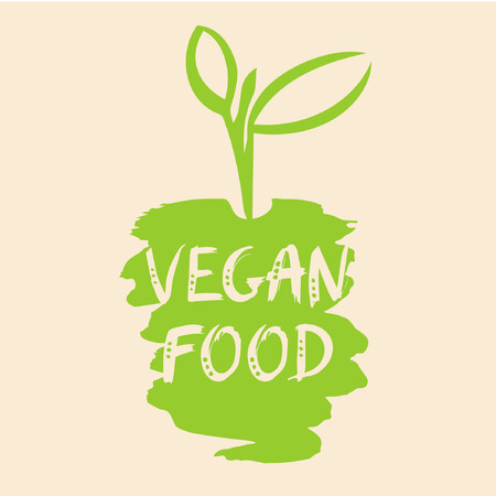 Vegan food illustration. The growth of plants, seedlings. To break through the earth to bloom.