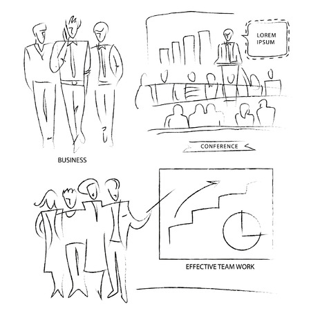 Outline of business people. Set a group of employees. Outline of business scenes. Conferences, meetings, project protection. The efficiency of the team.
