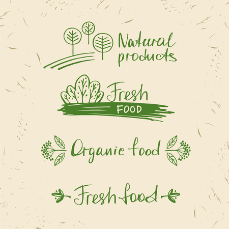 menu land: Set natural products. Design elements for summer menu  restaurant, cafe. Illustration