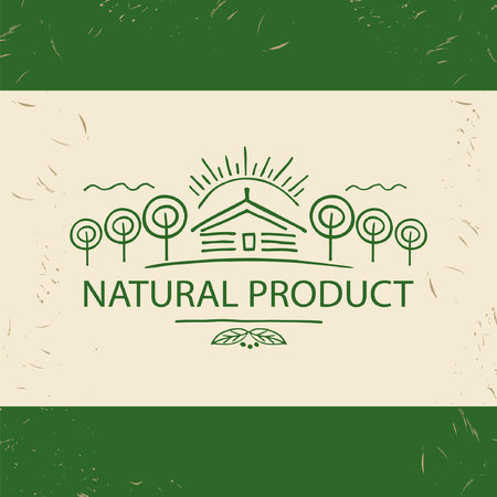 home product: natural product icon. Hand drawn  tree, home and  sun. Illustration