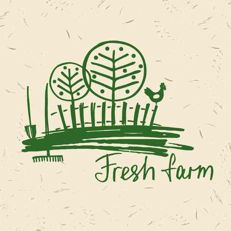 hand drawn fresh farm icon. Lettering agriculture and farm. Sketch of rural landscape with a rooster, fence, trees, gardening tools. Vettoriali