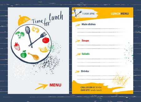 Ora di pranzo. elemento di design Menu per bar, ristorante, bar.Food su un piatto con una forchetta e cucchiaio. Fitness, dieta e calorie.