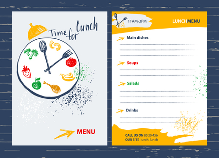 Time for lunch. Menu design element for  cafe, restaurant, bar.Food on a plate with a fork and spoon. Fitness, Diet and Calorie. Çizim
