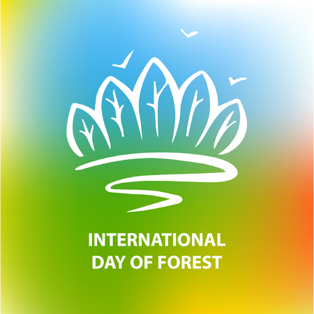 forest road: International day of forest. Road for freedom. Vector poster.
