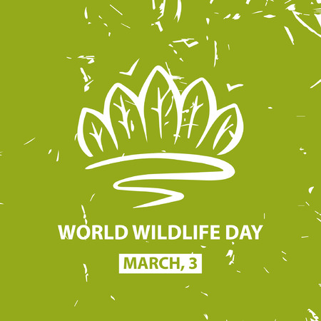 fauna: World and wildlife day. March third. Vector colorful poster.