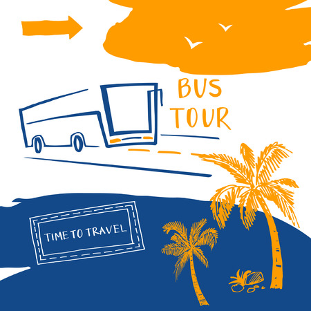 bus tour: Poster for the travel and tourism resort. bus travel agency. Vector background. Summer holiday resort, Bus tour.