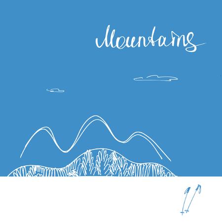 ski resort: Poster mountains. Mountains vector. Lettering and sketch mountains. Vintage hand drawn emblem. Element design for ski resort business.