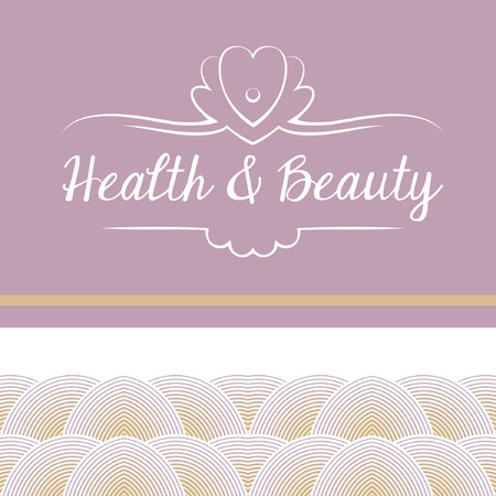 Vector logo depicting shells and pearls. Health and beauty. Background pattern with floral and marine elements. Caring for the body and face, hygiene.
