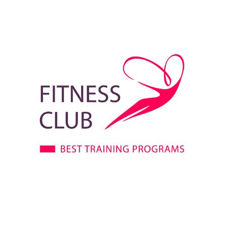 Logo silhouette of flying woman on air for fitness club and best training programs on red background. Illustration