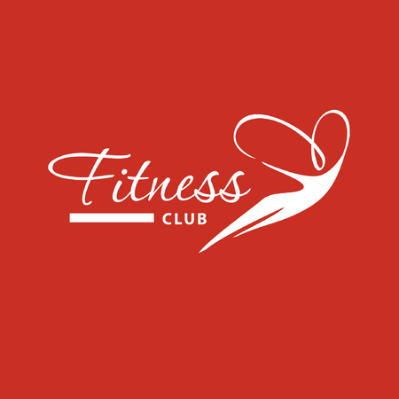 Logo silhouette of flying woman on air for fitness club and best training programs on red background. Stock Illustratie