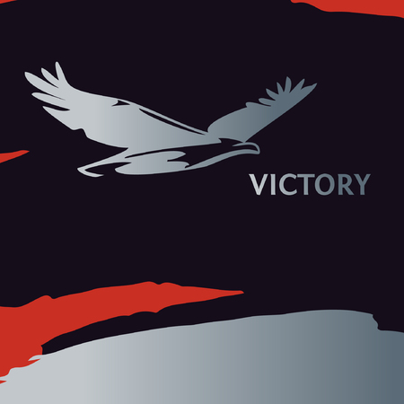 greatness: Poster of silver gradient eagle, painted with a brush. Silhouettes of bird of prey soaring in the sky. The logo, a symbol of greatness, victory and freedom. Eagle on  background black and red color.