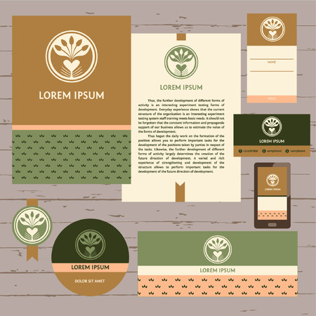 Grown with love. A set of stationery items for locally farm. Vector template logo. Farm products. Growing plants and seedlings. Planted in the ground sprouts, care and care of plants. Care and protection of the environment.