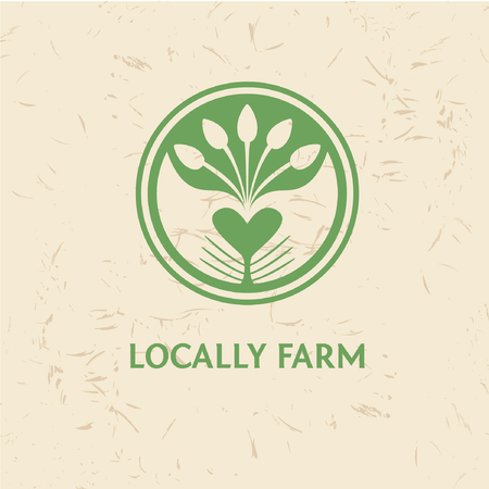 new products: Grown with love. Locally farm. Vector template logo. Farm products. Growing plants and seedlings. Planted in the ground sprouts, care and care of plants. Care and protection of the environment.