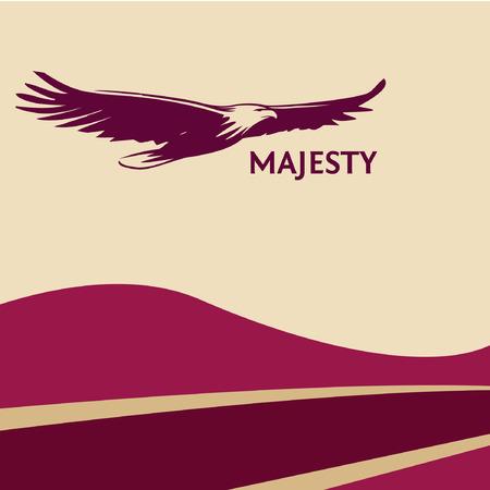 Cartel de águila cereza vino tinto, pintado con un pincel. Siluetas de ave de presa se eleva en el cielo. El logotipo, un símbolo de la grandeza, la victoria y la libertad. Águila en el fondo colorido.