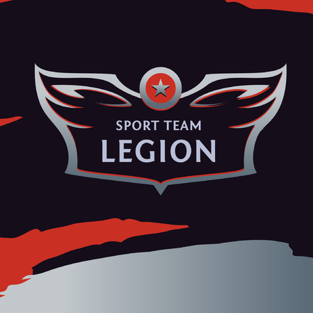 founding: Vector logo template sport team. Wings of a bird, an eagle in design style. On black background. Sign of the print on the shirt.
