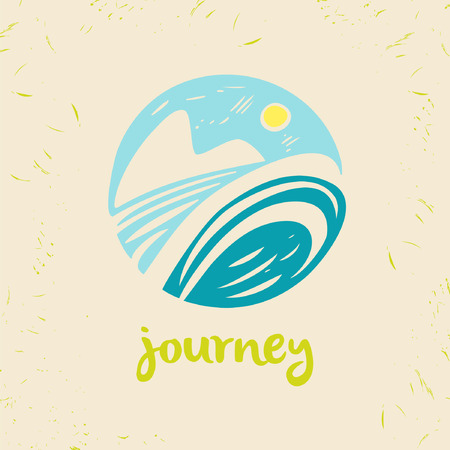 Vector logo travel company. Tourist trip. The journey in the sky, landscape. Hand drawn logo in a circle. Stock Illustratie