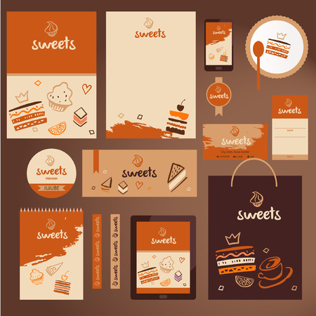 snack food: Vector stationery template design for cafe, shop. Sweet logo. Branding design.