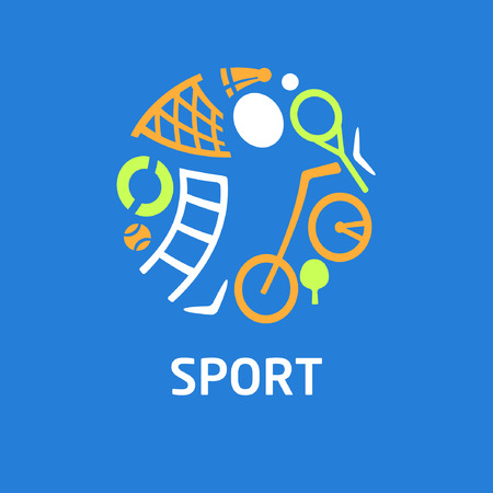 Vector logo for childrens sports school, club, shop for sports, competition sports. Silhouettes of a man sporting equipment. Various sports. Blue and orange colors. The symbolism, conceptual and brevity. Ilustração