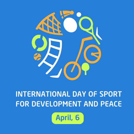 Vector logo for childrens sports school, club, shop for sports, competition sports. Silhouettes of a man sporting equipment. Various sports. International day of sport for development and peace. The symbolism, conceptual and brevity.