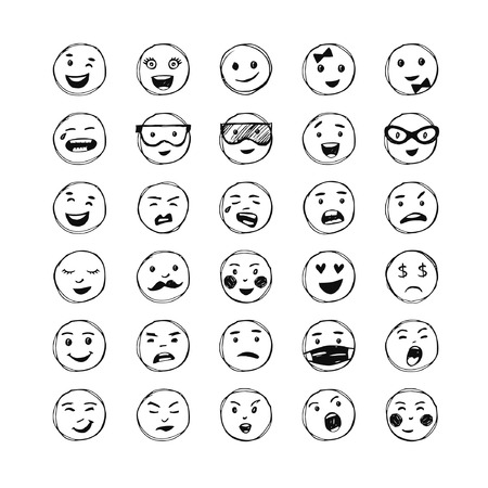 A set of hand drawn black lines smiles. Vector elements for emotion.