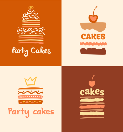 fillings: Party cakes logo. Set of patterns vector logos cakes. Logo confectionery, coffee shop. Big cakes with fillings and wedding cakes. Illustration